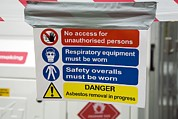 Removal Framed Prints - Asbestos Removal Warning Signs Framed Print by Paul Rapson