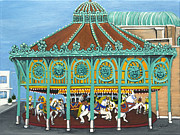 Asbury Park Paintings - Asbury Park Carousel House III by Norma Tolliver