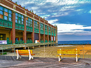 Park Benches Photos - Asbury Park Convention Hall and Shore by Jeff Stein