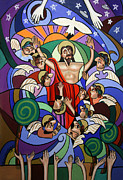 Jesus Mixed Media Prints - Ascending To The Father  Print by Anthony Falbo
