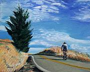 Cyclist Posters - Ascent Poster by Colleen Proppe