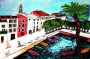 Water Town Drawings - Ascona Imaginario by Monica Engeler