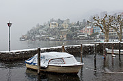 Old Houses Metal Prints - Ascona with snow Metal Print by Joana Kruse