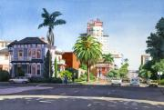Victorian Buildings Paintings - Ash and Second Avenue in San Diego by Mary Helmreich