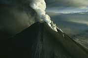 Volcanoes Prints - Ash And Steam Billowing From Karymsky Print by Klaus Nigge