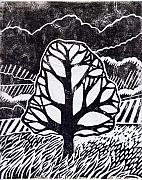 Lino Framed Prints - Ash Tree Framed Print by Becca Thorne
