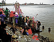 Mississippi River Scene Framed Prints - Ashes to Water Mardi Gras Day in New Orleans Framed Print by Louis Maistros