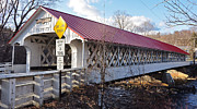 Slates Prints - Asheulot Covered Bridge Print by Mary Anne Williams