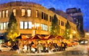 Outdoor Cafe Paintings - Asheville Nightlife by Elizabeth Coats