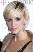 Dangly Earrings Posters - Ashlee Simpson At Arrivals For T-mobile Poster by Everett