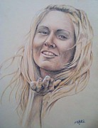 Sepia Chalk Drawings - Ashley by Jason Weaver