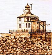 Lighthouse Pyrography Posters - Ashtabula Harbor  Poster by Danette Smith