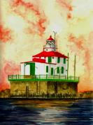 Lighthouse Drawings Framed Prints - Ashtabula Lighthouse Framed Print by Michael Vigliotti