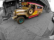 Selective Color Framed Prints - Asia Philippines Jeepney 6272537SC Framed Print by Rolf Bertram