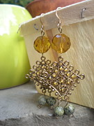 Gold Jewelry - Asian Beaded Earrings by Beth Sebring