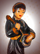 Lute Prints - Asian Beauty Minstrel Print by Kathy Clark