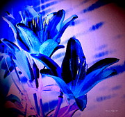 Garden Scene Digital Art Posters - Asian Blue Lily Abstract -- A Watercolor Paintograph Poster by Christine S Zipps
