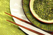 Asian Bowls Filled With Herbs Print by Sandra Cunningham