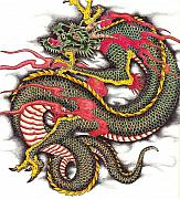 Tattoo Drawings Framed Prints - Asian Dragon Framed Print by Maria Arango