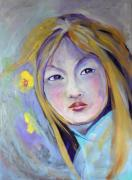 Iridescent Painting Posters - Asian Girl Poster by Michael Clifford Shpack