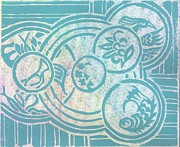 Lino Mixed Media Prints - Asian Inspirations Print by Angela Conley