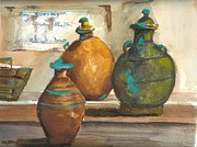 Jugs Prints - Asian Jugs Print by Mary Dunham Walters