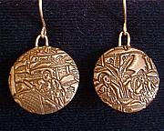 Gold Earrings Art - Asian Market Earrings by Cydney Morel-Corton