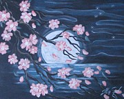 Cherry Blossoms Painting Prints - Asian Moon Print by Radha Flora Cloud