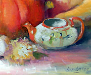 Pumpkins Paintings - Asian Teapot by Kit Dalton