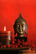 Buddhism Photos - Asian theme with candle  by Sandra Cunningham