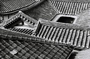 Korean Framed Prints - Asian Tiled Roof Framed Print by  Colin Roohan. All Rights Reserved.