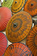 Oriental Metal Prints - Asian Umbrellas Metal Print by Michele Burgess