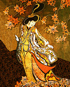 Woman Tapestries - Textiles Metal Prints - Asian Woman Metal Print by Alexandra  Sanders