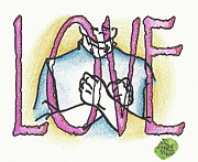 Asl Framed Prints - Asl For Love Framed Print by Scott Lightfoot