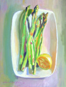 Plates Paintings - Asparagus Plate by David Lloyd Glover