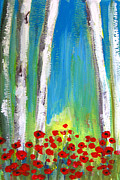Hand Made Art - Aspen and Poppy Flower Field by Patricia Awapara