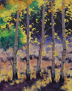 Amber Paintings - Aspen colors by Graham Gercken