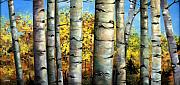 Wyoming Paintings - Aspen Eyes by Cynara Shelton