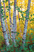 Autumn Landscape Paintings - Aspen Light by Graham Gercken