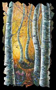 Hand Made Art - Aspen Path Fresco by OLena Art
