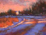 Snow Scene Pastels Framed Prints - Aspen Road at Sunset Framed Print by Barbara Jaenicke