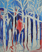 The Trees Mixed Media Originals - Aspen roots by Christy Woodland