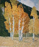 Aspen Trees Pastels Prints - Aspen Sanctuary Print by Michele Turney