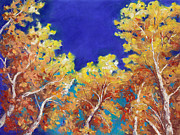 Yellow Leaves Pastels Prints - Aspen Sky Print by Grace Goodson
