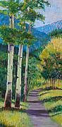 Birch Trees Paintings - Aspen Trails by Billie Colson
