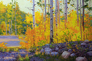 Vibrant Color Prints Paintings - Aspen Vista by Gary Kim