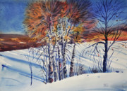 Snow Drifts Paintings - Aspin In The Snow by Donald Maier