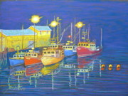Night Pastels - Aspotogan boats at night by Rae  Smith PSC