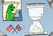 News Drawings Originals - Assange Ecuador Embassy cartoon by Yasha Harari