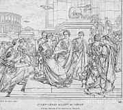 Brutus Posters - Assassination Of Julius Caesar, 44 Bc Poster by Science Source